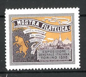 Reklamemarke Torino, Mostra Filatelica 1898, Ortsmotiv und Messelogo