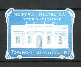 Präge-Reklamemarke Torino, Mostra Filatelica Internationale 1911, Ausstellungshalle