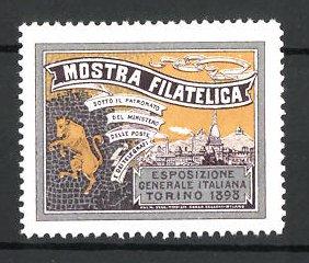 Reklamemarke Torino, Mostra Filatelica 1898, Wappen und Ortsmotiv
