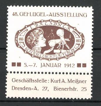 Reklamemarke Dresden, 48. Geflügel-Ausstellung 1912, Frau mit Geflügel