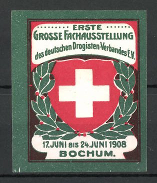 Reklamemarke Bochum, Fach-Ausstellung des Drogisten-Verbandes 1908, Wappen