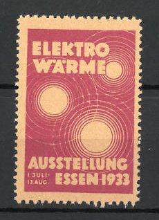 reklamemarke essen ausstellung elektro w rme 1933 messelogo nr 7827804 oldthing siegel. Black Bedroom Furniture Sets. Home Design Ideas