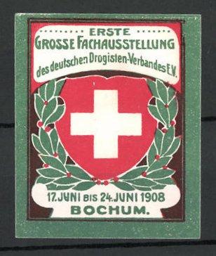 Reklamemarke Bochum, erste grosse Fach-Ausstellung des Drogisten-Verbandes 1908, Wappen