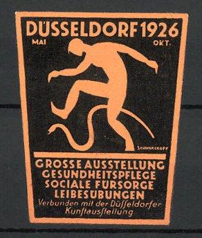 Präge-Reklamemarke Düsseldorf, grosse Ausstellung für Leibesübungen 1926, Mann mit Schlange