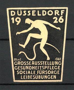 Präge-Reklamemarke Düsseldorf, grosse Ausstellung für Leibesübungen, Mann mit Schlange, weiss