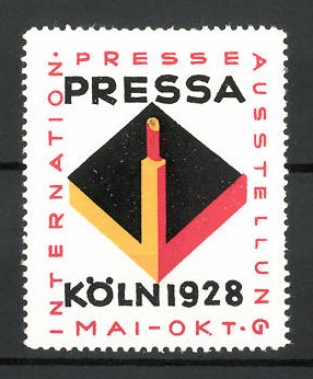 Reklamemarke Köln, internationale Presse-Ausstellung 1928, Messelogo