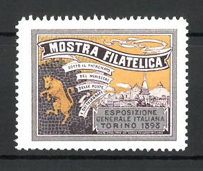 Reklamemarke Torino, Mostra Filatelica 1898, Wappen mit Ortsansicht