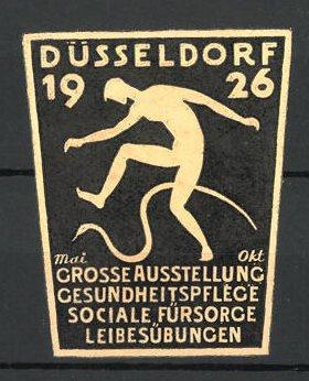 Präge-Reklamemarke Düsseldorf, grosse Ausstellung für Leibesübungen 1926, Mann mit Schlange, gelb