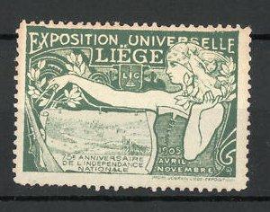Reklamemarke Liegé, Exposition Universelle 1905, Bäuerin mit Zirkel und Ortsansicht, grün