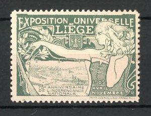 Reklamemarke Liége, Exposition Universelle 1905, Bäuerin mit Zirkel und Ortsansicht, grün
