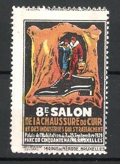 Reklamemarke Bruxelles, 8e Salon de la Chaussure du Chur 1929, Leder und Schuh