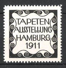 reklamemarke hamburg tapeten ausstellung 1911 ornamente nr 6297812 oldthing siegel. Black Bedroom Furniture Sets. Home Design Ideas