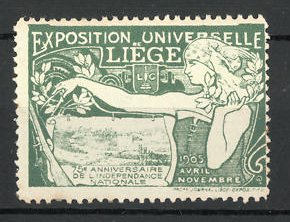 Reklamemarke Liége, Exposition Universelle 1905, Bäuerin mit Zirkel, Ortsansicht, grün