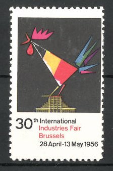 Reklamemarke Brussel, 30th International Industries Fair 1956, Messelogo