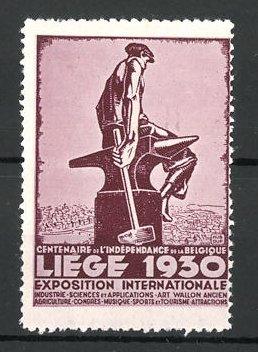 Reklamemarke Liége, Exposition Internationale, Schmied sitzt auf Amboss