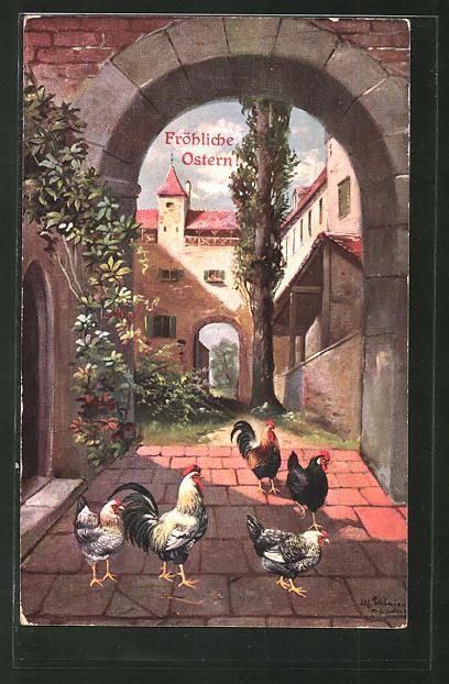 Künstler-AK Alfred Schönian: Fröhliche Ostern, Hähne und Hennen