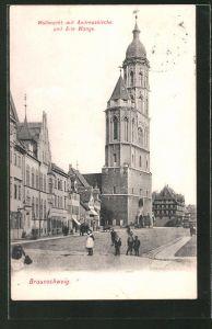 AK Braunschweig, Wollmarkt mit Andreaskirche und alte Waage