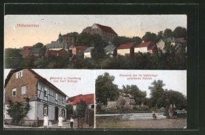 AK Hohensolms, Bäckerei und Handlung von Karl Schupp, Kriegerdenkmal