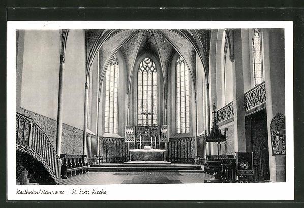 AK Northeim / Hannover, Innenansicht der St. Sixti-Kirche