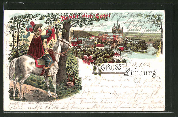 Lithographie Limburg, Ortspanorama, Trompeter zu Pferd