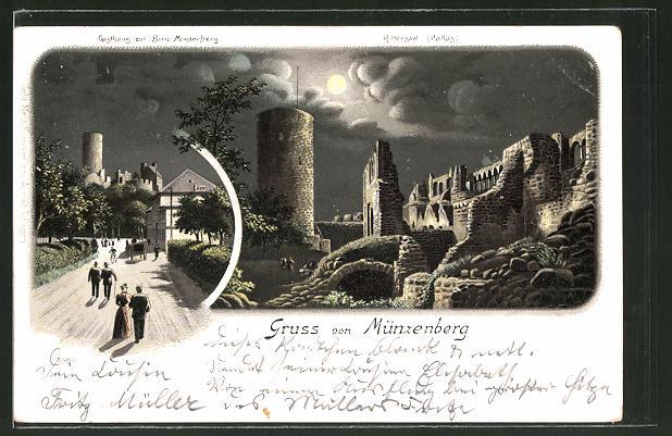 Mondschein-Lithographie Münzenberg, Gasthaus zur Burg Münzenberg, Rittersaal