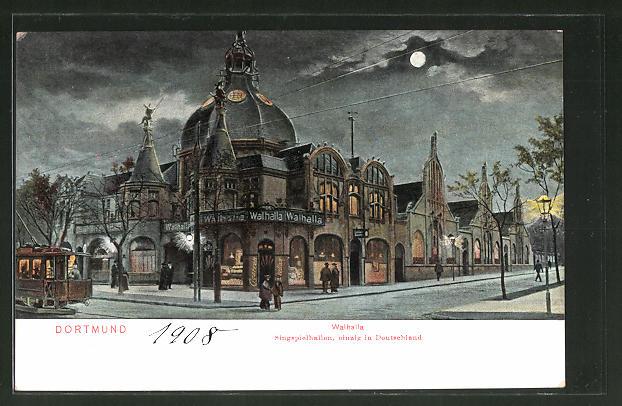 Mondschein-Lithographie Dortmund, Strassenansicht mit Gasthaus Walhalla