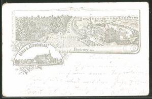 Lithographie Bredeney, Ansichten vom Restaurant Alfredusbad