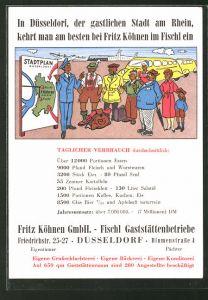 AK Düsseldorf, Reklame für das Gasthaus Fischl