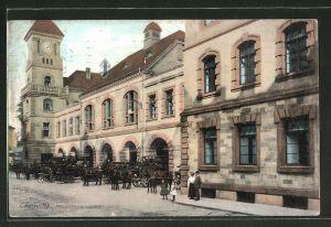 AK Chemnitz, Hauptfeuerwache, Feuerwehr beim Ausrücken