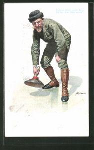 Künstler-Lithographie Fritz Quidenus: Sicherer Blick, glatte Bahn..., Curling