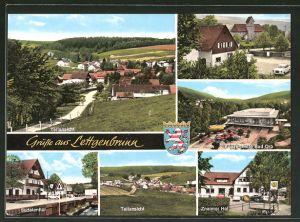 AK Lettgenbrunn / Spessart, Pension-Cafe Znaimer Hof, Gasthaus Sudetenhof, Konzerthalle Bad Orb
