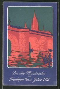Künstler-AK Ganzsache PP27C149 /01: Frankfurt, Einweihung des Osthafens & Grundsteinlegung z. Neubau d. Mainbrücke 1912