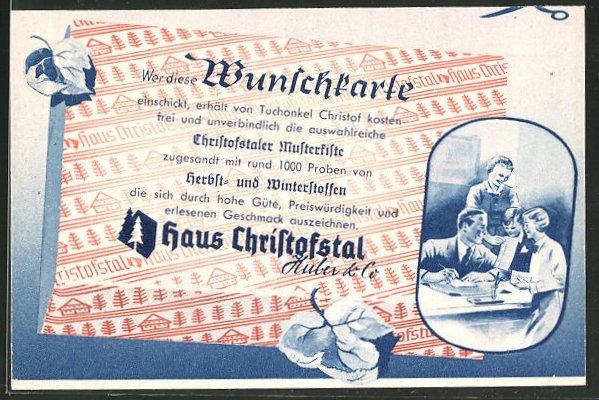 AK Christofstal, Haus Christofstal Huber & Co, Stoffe