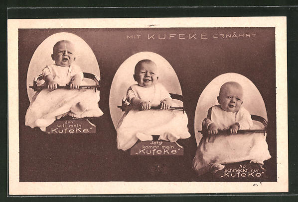 AK Mit Kufeke ernährt, lustiger Säugling