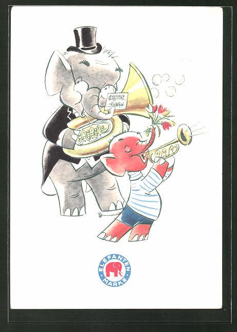 AK Reklame für Elefanten-Schuhe, Musizierende Elefanten