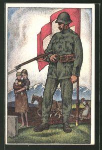 Künstler-AK Schweizer Soldat beim Abschied von seiner Familie, schweizer Fahne