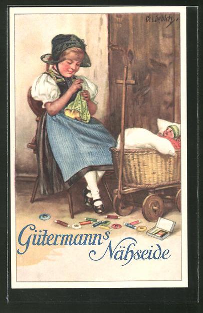 Künstler-AK Curt Liebich: Reklame für Gütermann's Nähseide, Mädchen in Tracht beim Nähen