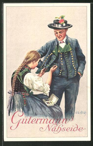 Künstler-AK Curt Liebich: Reklame für Gütermann's Nähseide, Frau beim Annähen eines Jackenknopfes