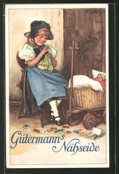 Künstler-AK Curt Liebich: Reklame für Gütermann's Nähseide, Puppenmutti beim Nähen