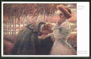 Künstler-AK Eduard Adrian Dussek: Liebespaar beim Abschied