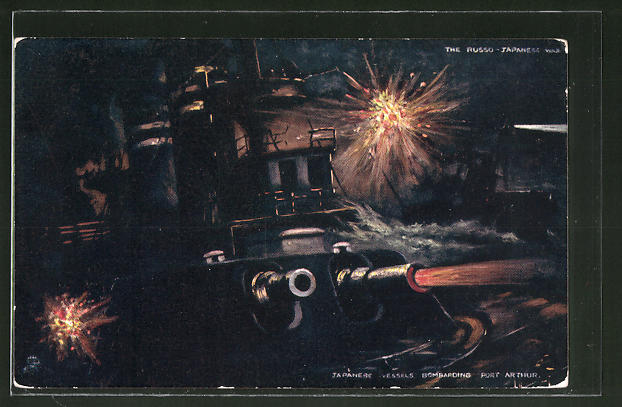 Künstler-AK Port Arthur, Japanese Vessels bombarding the Town, Russisch-Japanischer Krieg