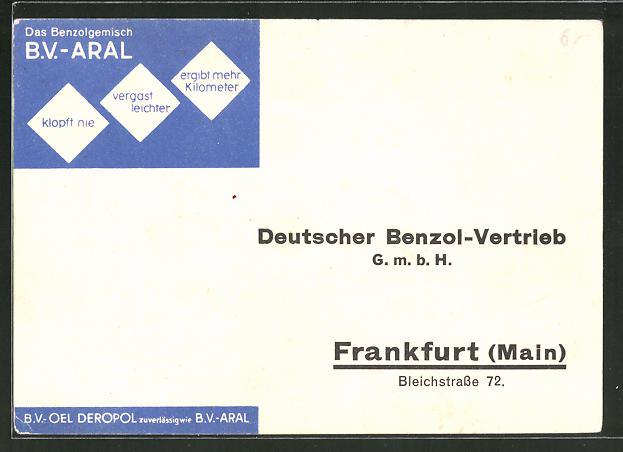 AK Reklame für Motoröl B.V. ARAL, Deutscher Benzol-Vertrieb GmbH, Frankfurt a. M., Bleichstrasse 72