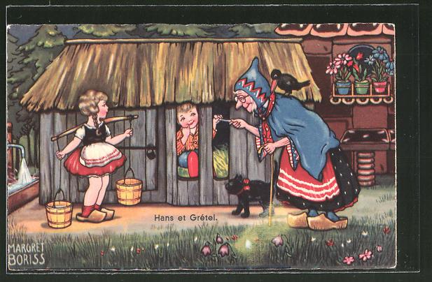 Künstler-AK Margret Boriss: Szene aus dem Märchen Hänsel und Gretel