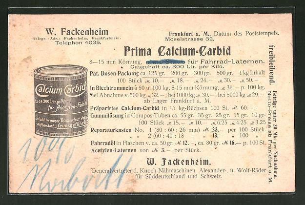 AK Reklame für Prima Calcium-Carbid für Fahrrad-Laternen, W. Fackenheim, Frankfurt a. M.