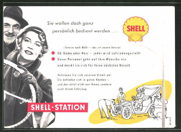 AK Reklame für Shell-Tankstellen