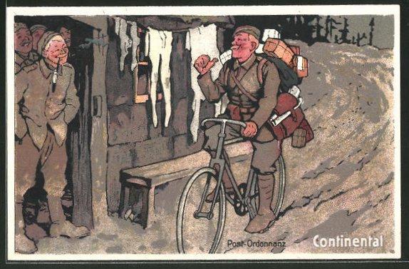 Künstler-AK Post-Ordonanz auf einem Fahrrad mit Bereifung von Continental