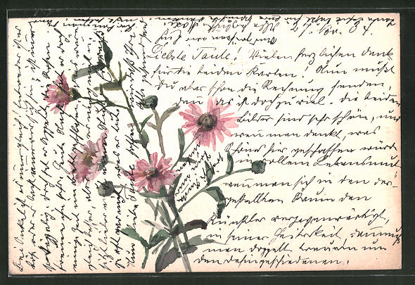 Künstler-AK Handgemalt: Blumen mit rosa Blüten
