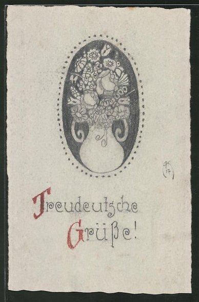 Künstler-AK Handgemalt: Treudeutsche Grüsse!, Blumenvase