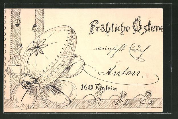 Künstler-AK Handgemalt: Fröhliche Ostern, Osterei und Klee