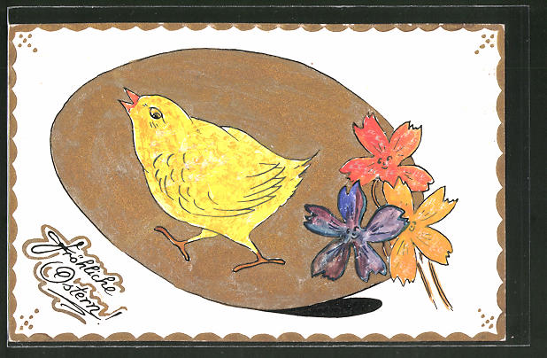 Künstler-AK Handgemalt: Fröhliche Ostern, Küken und goldenes Osterei